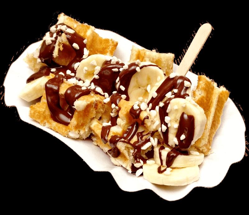 Original belgische Waffeln als Waffel Konfekt mit Banane, echter belgischer Pralinenschokolade und Zimtzucker Streusseln